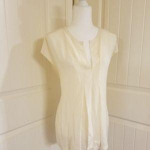 Lucky Brand - Silk Short Sleeve Blouse - White